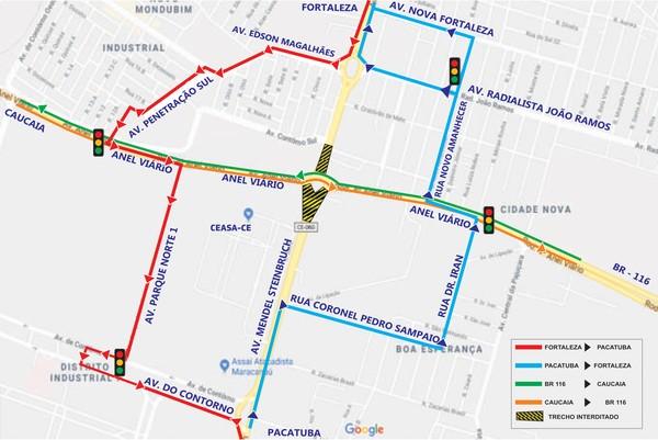 mapa novo trajeto Ceasa ceará